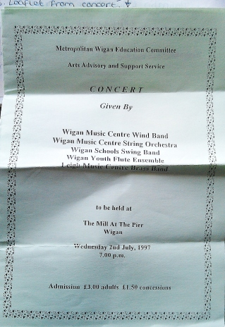 July 1997 - Wigan concert leaflet