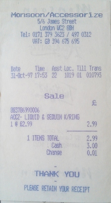 October 1997 - Receipt