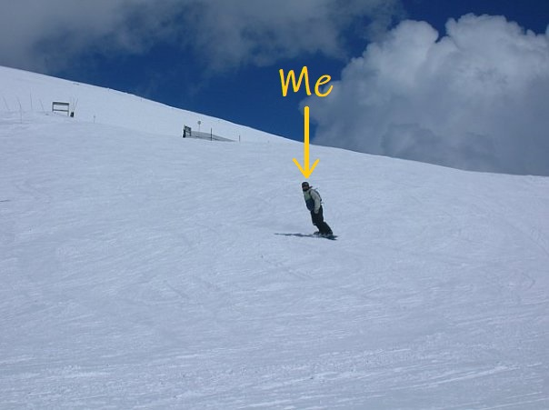 Tess snowboarding