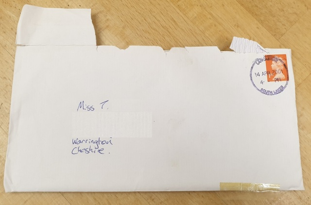 18-04-01 Michael letter to Tess envelope